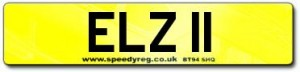 Cherished Number Plate for Elizabeth II