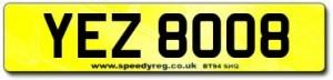 YEZ 8008 Number Plates