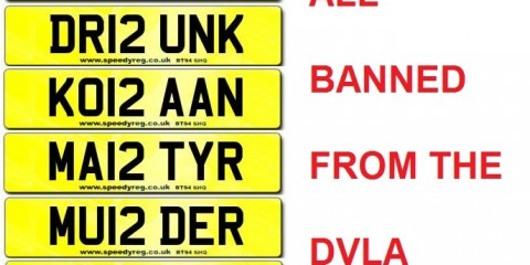Number Plates Banned from the DVLA