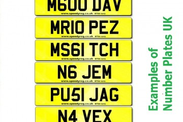 Examples of Number Plates UK