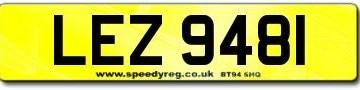 LEZ 9481 Number Plates